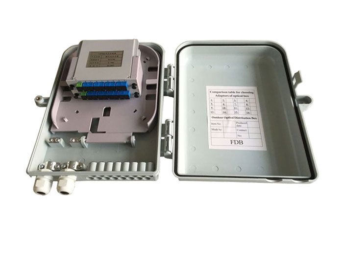 16 Core Fiber Optic Distribution Box with PLC Splitter FDB-016F