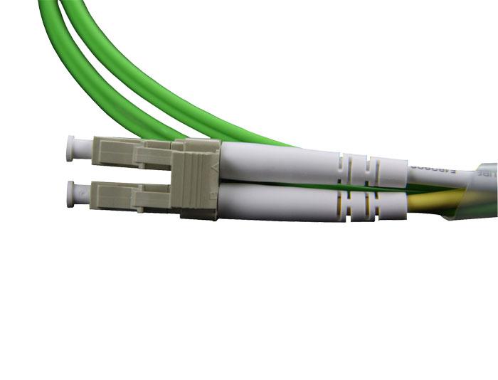 OM5 LC to LC Fiber Patch Cord Duplex 2.0mm Lemon Green, Low Smoke Zero Halogen (LSZH) rated, TSB-304K