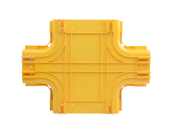 Fiber Raceway Horizontal Cross Tees PVC with Cover Yellow FSQ-102