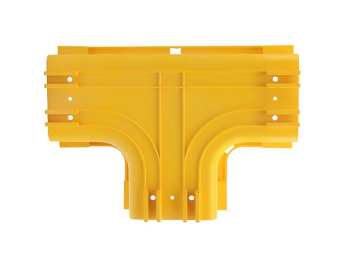 Fiber Raceway Horizontal Tees Fitting PVC with Cover Yellow FSQ-103