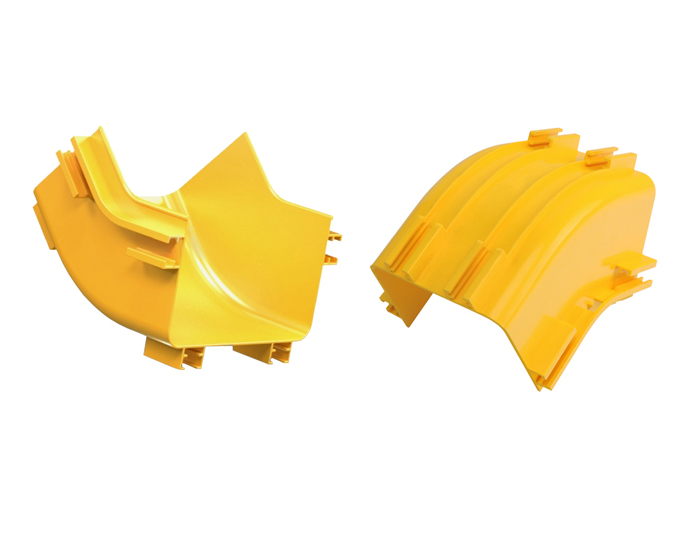Fiber Routing Up 45°C Elbow PVC with Cover Yellow FSQ-109