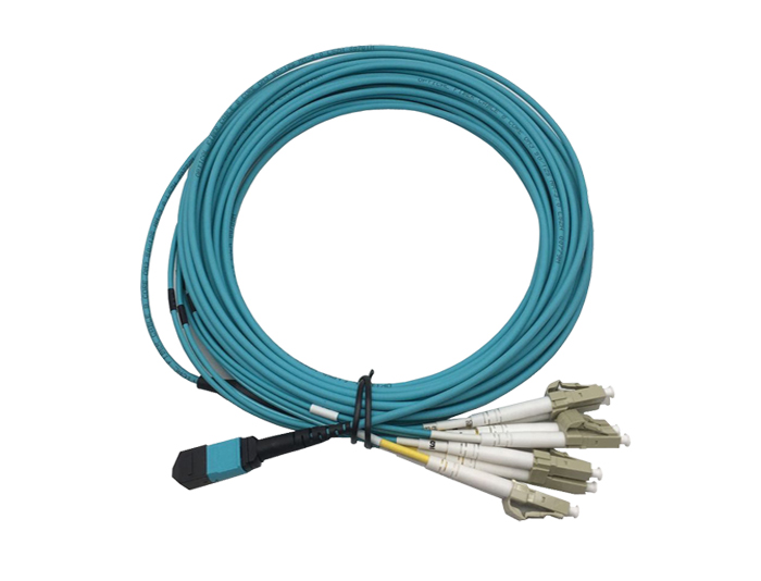 MPO to LC, 8 Fibers OM3 Multimode Breakout Cable, Low Smoke Zero Halogen (LSZH) Rated, TSB-307D