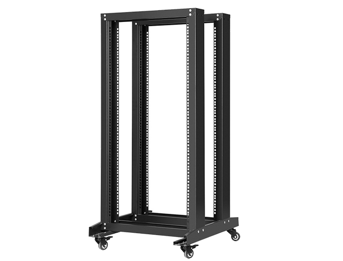 42U 4-Post Open Frame Rack, Black / Grey TSF-205C